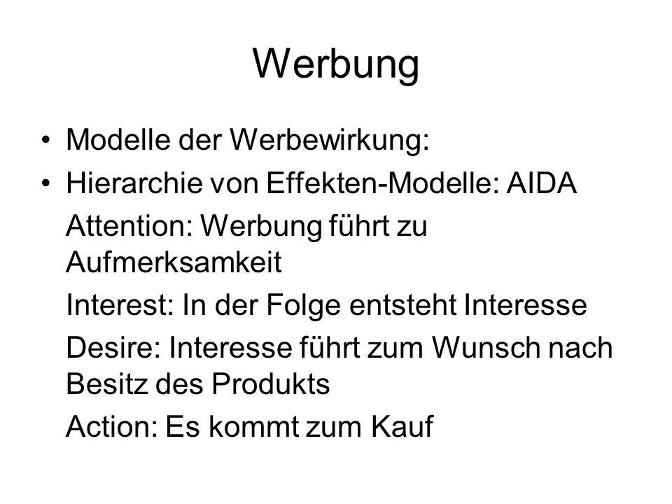Werbung Modelle der Werbewirkung: Hierarchie von Effekten-Modelle: AIDA Attention: Werbung führt zu Aufmerksamkeit Interest: In der Folge entsteht Int
