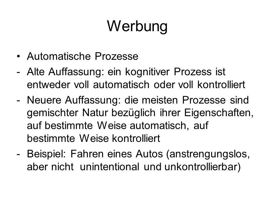 Werbung Automatische Prozesse -Alte Auffassung: ein kognitiver Prozess ist entweder voll automatisch oder voll kontrolliert -Neuere Auffassung: die me