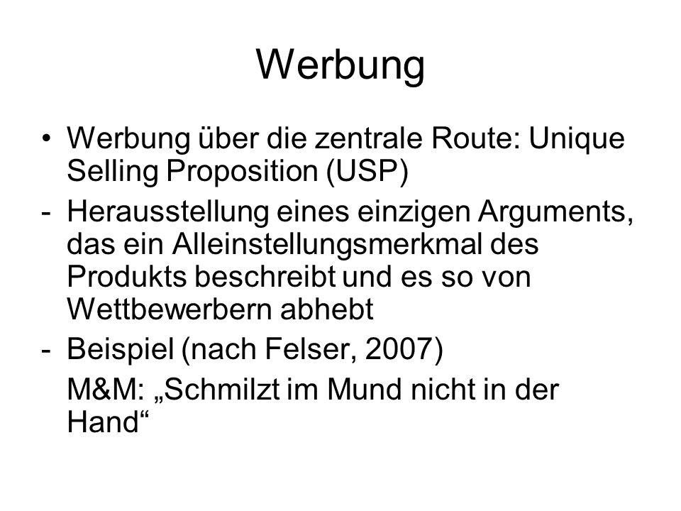 Werbung Werbung über die zentrale Route: Unique Selling Proposition (USP) -Herausstellung eines einzigen Arguments, das ein Alleinstellungsmerkmal des