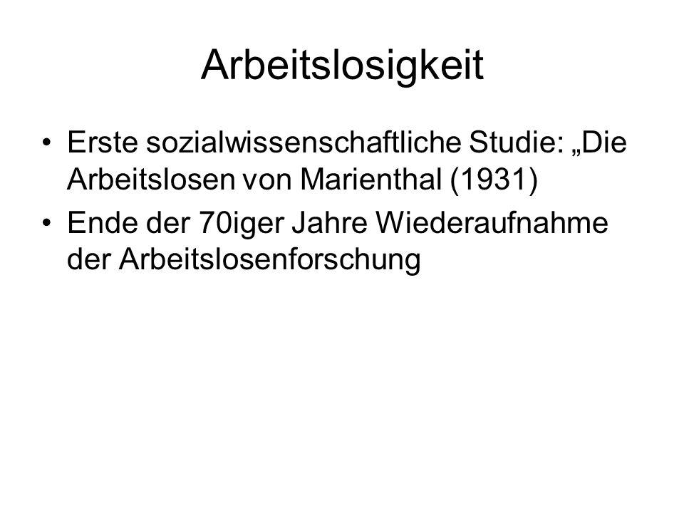 Arbeitslosigkeit Erste sozialwissenschaftliche Studie: Die Arbeitslosen von Marienthal (1931) Ende der 70iger Jahre Wiederaufnahme der Arbeitslosenfor