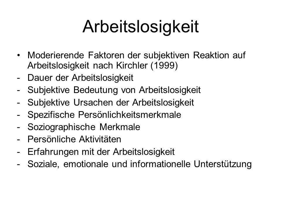 Arbeitslosigkeit Moderierende Faktoren der subjektiven Reaktion auf Arbeitslosigkeit nach Kirchler (1999) -Dauer der Arbeitslosigkeit -Subjektive Bede