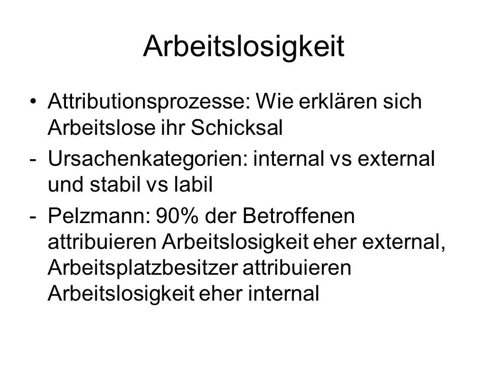 Arbeitslosigkeit Attributionsprozesse: Wie erklären sich Arbeitslose ihr Schicksal -Ursachenkategorien: internal vs external und stabil vs labil -Pelz