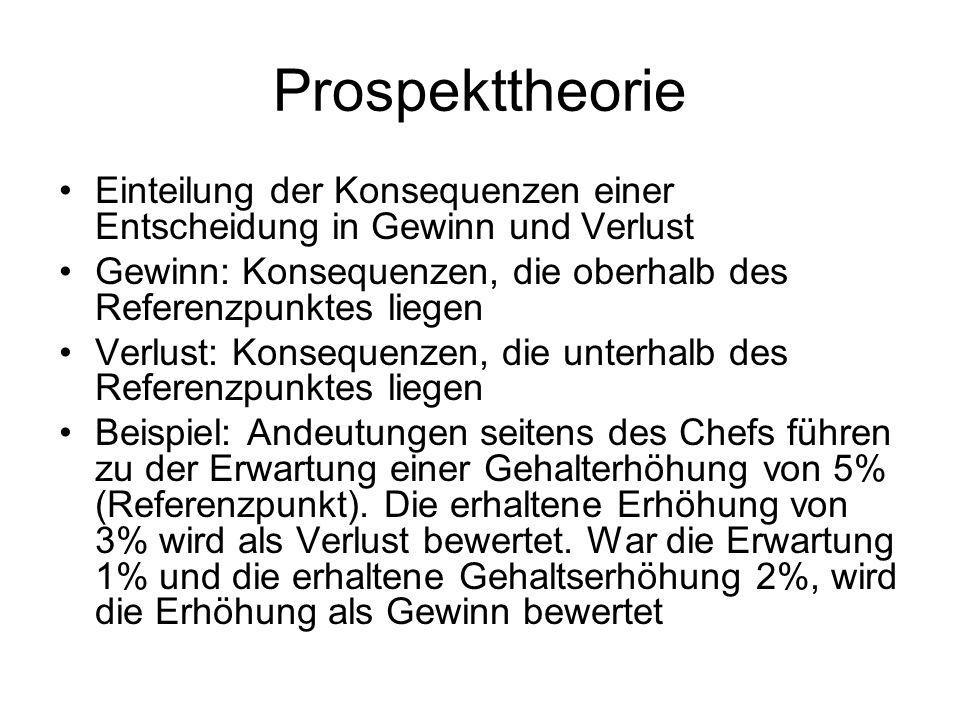 Prospekttheorie Einteilung der Konsequenzen einer Entscheidung in Gewinn und Verlust Gewinn: Konsequenzen, die oberhalb des Referenzpunktes liegen Ver