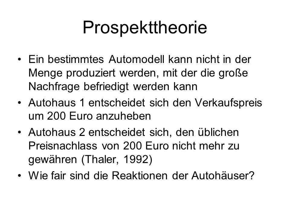 Prospekttheorie Ein bestimmtes Automodell kann nicht in der Menge produziert werden, mit der die große Nachfrage befriedigt werden kann Autohaus 1 ent