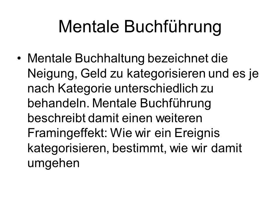 Mentale Buchführung Mentale Buchhaltung bezeichnet die Neigung, Geld zu kategorisieren und es je nach Kategorie unterschiedlich zu behandeln. Mentale