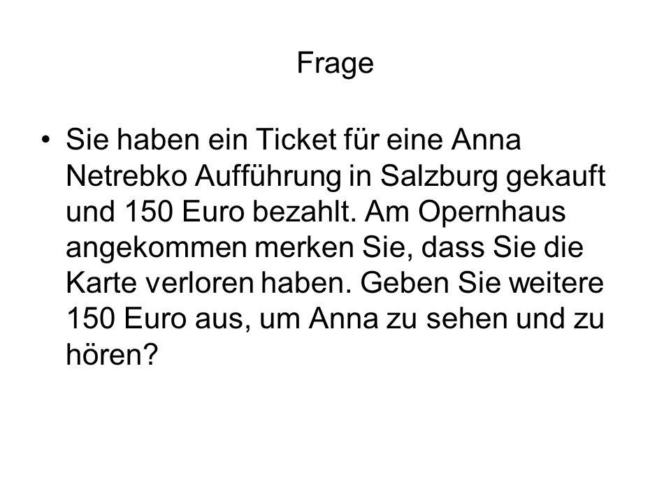 Frage Sie haben ein Ticket für eine Anna Netrebko Aufführung in Salzburg gekauft und 150 Euro bezahlt. Am Opernhaus angekommen merken Sie, dass Sie di