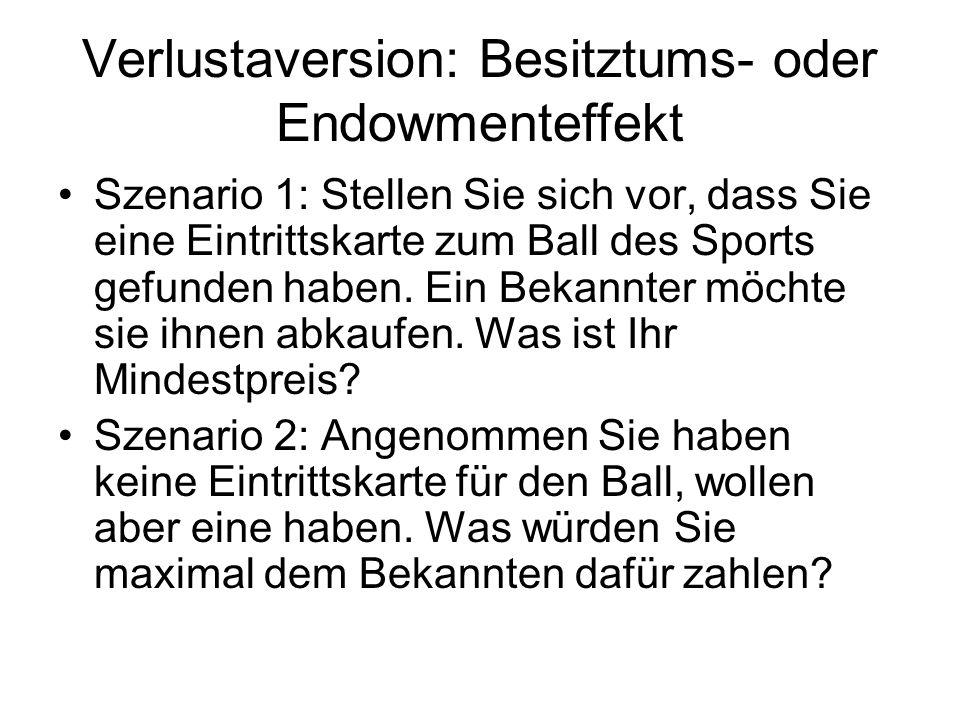 Verlustaversion: Besitztums- oder Endowmenteffekt Szenario 1: Stellen Sie sich vor, dass Sie eine Eintrittskarte zum Ball des Sports gefunden haben. E