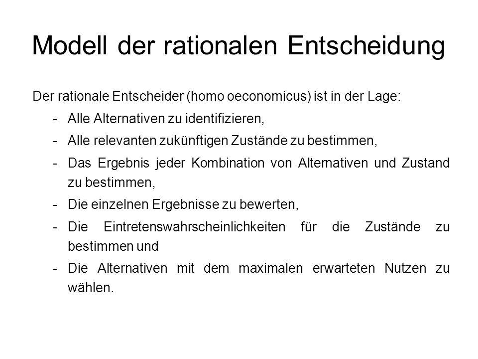Modell der rationalen Entscheidung Der rationale Entscheider (homo oeconomicus) ist in der Lage: -Alle Alternativen zu identifizieren, -Alle relevante