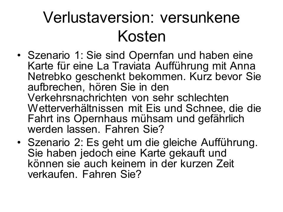Verlustaversion: versunkene Kosten Szenario 1: Sie sind Opernfan und haben eine Karte für eine La Traviata Aufführung mit Anna Netrebko geschenkt beko