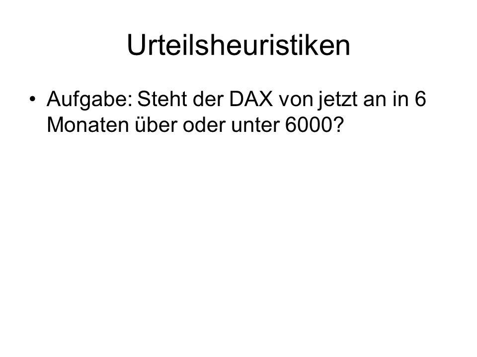 Urteilsheuristiken Aufgabe: Steht der DAX von jetzt an in 6 Monaten über oder unter 6000?