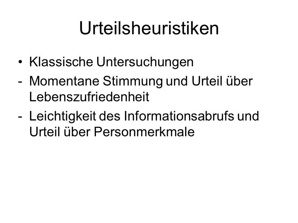 Urteilsheuristiken Klassische Untersuchungen -Momentane Stimmung und Urteil über Lebenszufriedenheit -Leichtigkeit des Informationsabrufs und Urteil ü