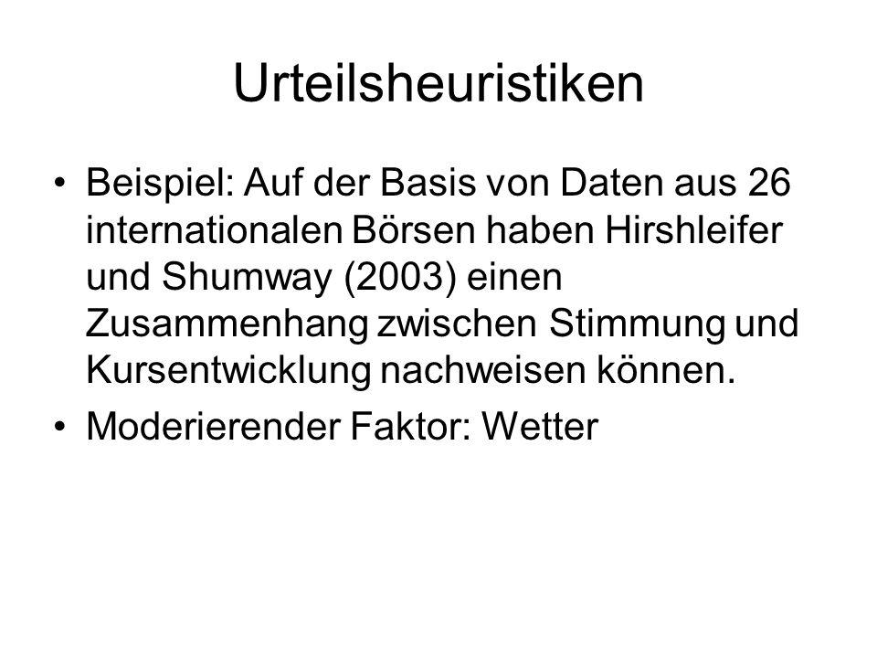 Urteilsheuristiken Beispiel: Auf der Basis von Daten aus 26 internationalen Börsen haben Hirshleifer und Shumway (2003) einen Zusammenhang zwischen St