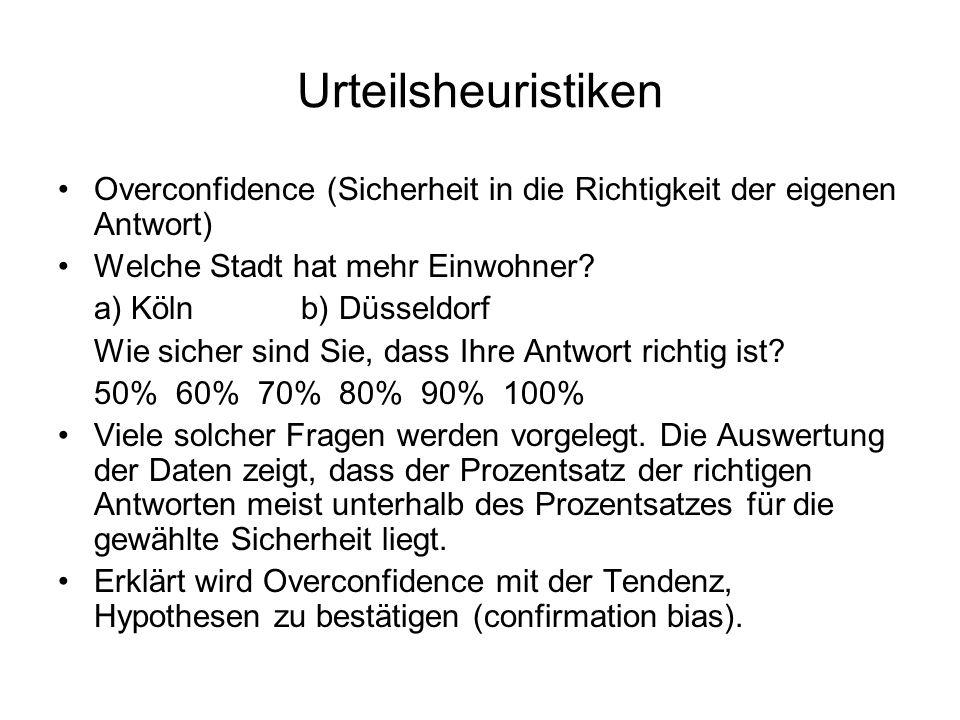 Urteilsheuristiken Overconfidence (Sicherheit in die Richtigkeit der eigenen Antwort) Welche Stadt hat mehr Einwohner? a) Köln b) Düsseldorf Wie siche