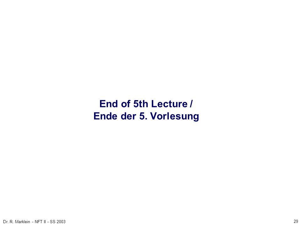 29 Dr. R. Marklein - NFT II - SS 2003 End of 5th Lecture / Ende der 5. Vorlesung