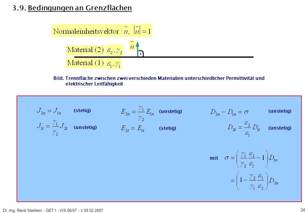 Dr.-Ing. René Marklein - GET I - WS 06/07 - V 09.02.2007 24 3.9.