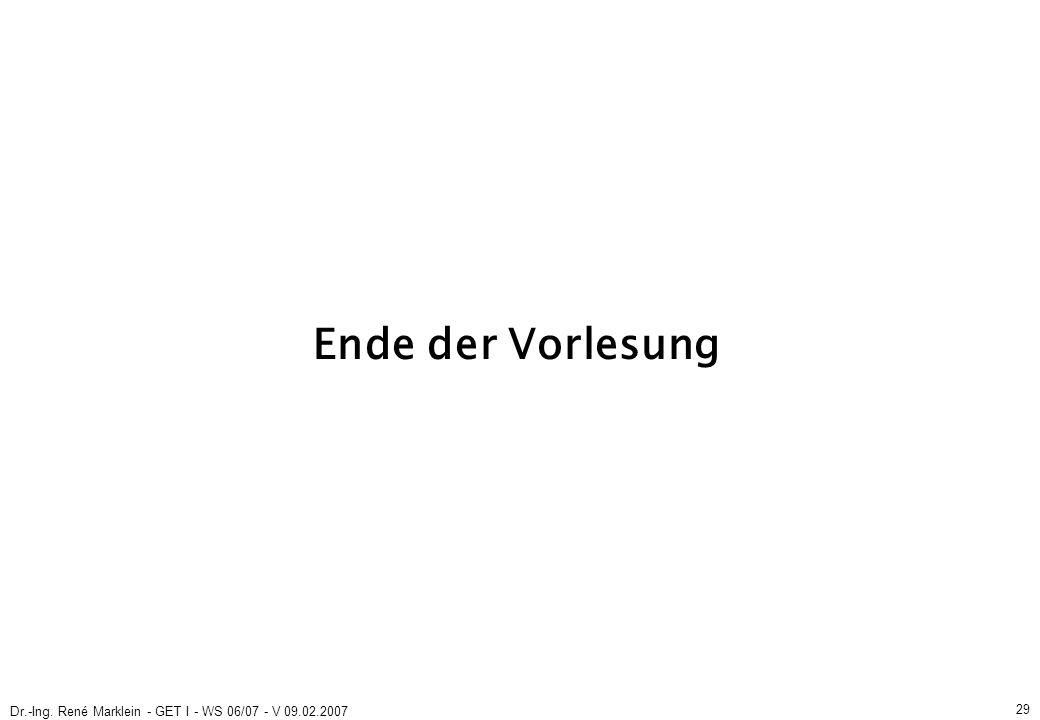 Dr.-Ing. René Marklein - GET I - WS 06/07 - V 09.02.2007 29 Ende der Vorlesung
