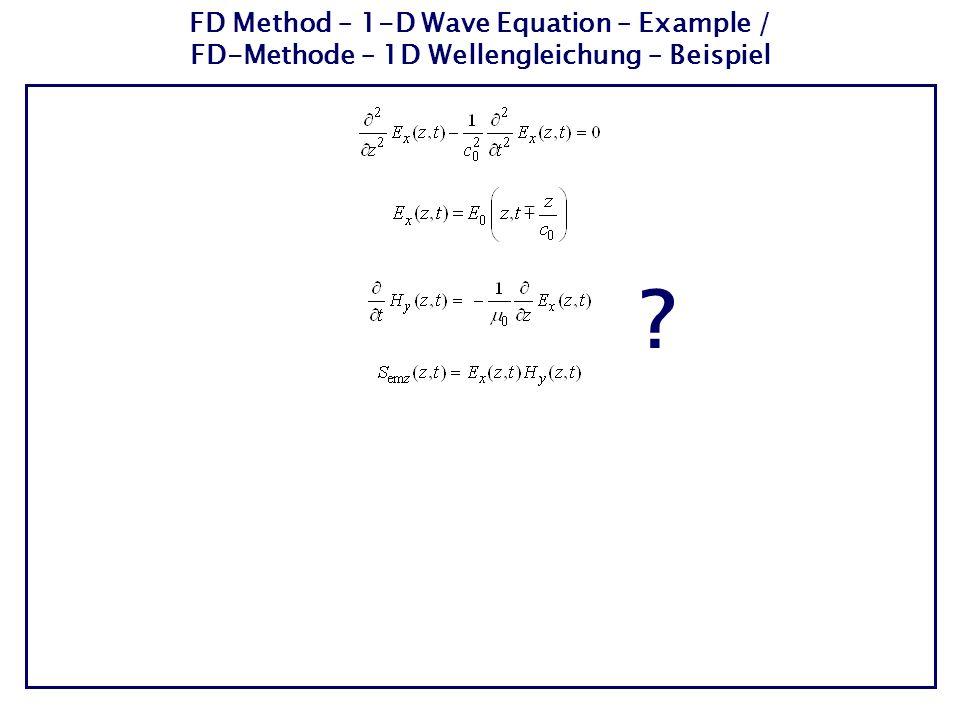 FD Method – 1-D Wave Equation – Example / FD-Methode – 1D Wellengleichung – Beispiel ?