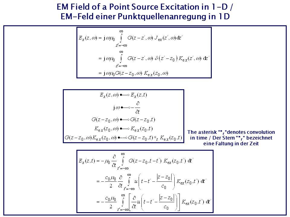 EM Field of a Point Source Excitation in 1-D / EM-Feld einer Punktquellenanregung in 1D The asterisk * t denotes convolution in time / Der Stern * t b