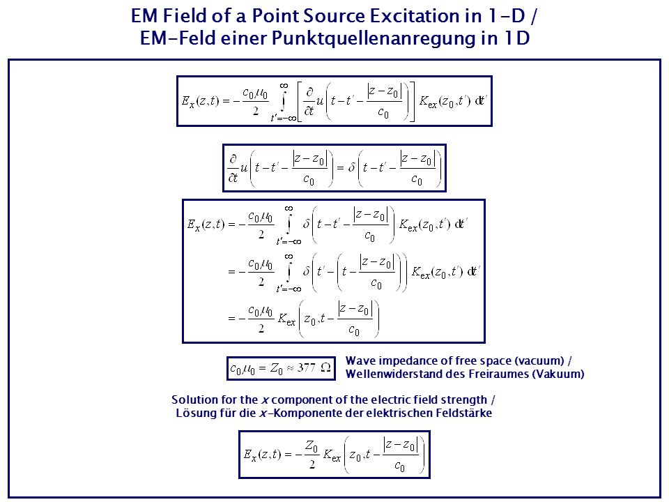 EM Field of a Point Source Excitation in 1-D / EM-Feld einer Punktquellenanregung in 1D Solution for the x component of the electric field strength / Lösung für die x-Komponente der elektrischen Feldstärke Wave impedance of free space (vacuum) / Wellenwiderstand des Freiraumes (Vakuum)