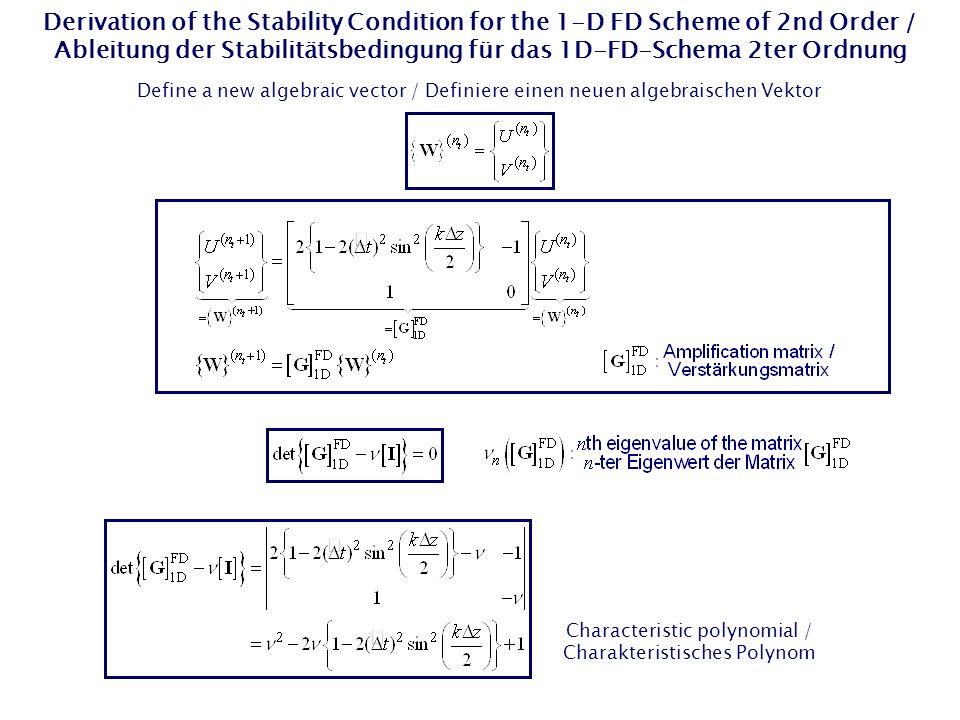 Derivation of the Stability Condition for the 1-D FD Scheme of 2nd Order / Ableitung der Stabilitätsbedingung für das 1D-FD-Schema 2ter Ordnung Define