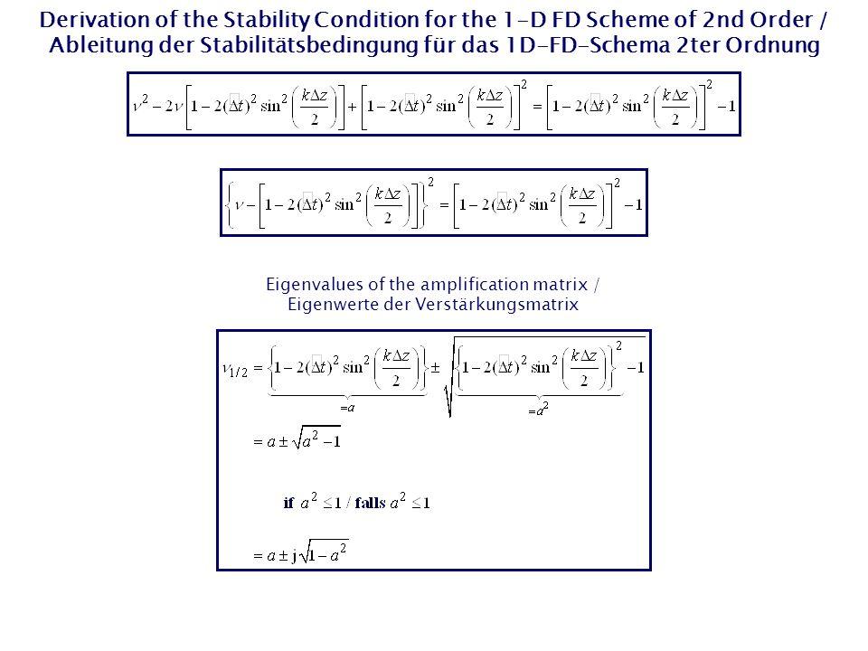 Derivation of the Stability Condition for the 1-D FD Scheme of 2nd Order / Ableitung der Stabilitätsbedingung für das 1D-FD-Schema 2ter Ordnung Eigenv