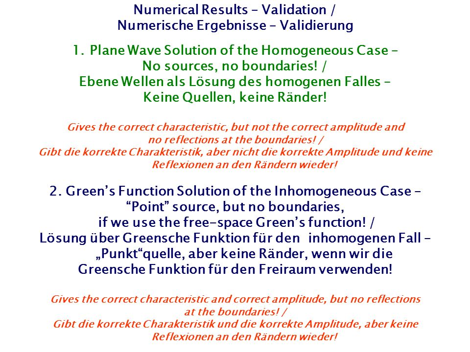Numerical Results – Validation / Numerische Ergebnisse – Validierung 1.Plane Wave Solution of the Homogeneous Case – No sources, no boundaries.