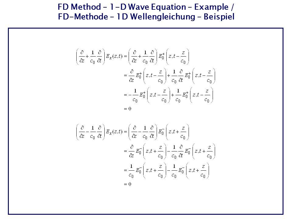 Homogeneous scalar 1-D wave equation for the electric field strength / Homogene, skalare 1D-Wellengleichung für die elektrische Feldstärke Solution is a left and right propagating plane wave / Lösung ist eine nach links und rechts laufende ebene Welle A wave, which propagates for increasing time t in positive z direction / Eine Welle, die sich für zunehmende Zeit t in positive z- Richtung ausbreitet A wave, which propagates for increasing time t in negative z direction / Eine Welle, die sich für zunehmende Zeit t in negative z- Richtung ausbreitet