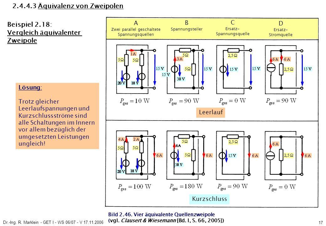 Dr.-Ing. R. Marklein - GET I - WS 06/07 - V 17.11.2006 17 2.4.4.3 Äquivalenz von Zweipolen Beispiel 2.18: Vergleich äquivalenter Zweipole Lösung: Trot