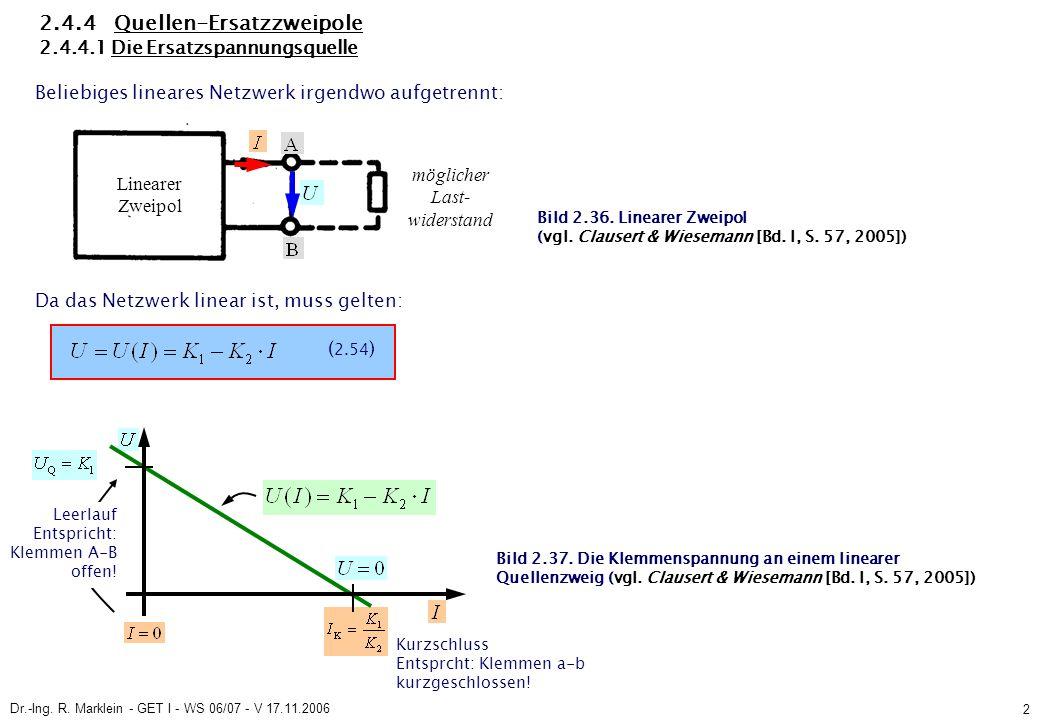 Dr.-Ing. R. Marklein - GET I - WS 06/07 - V 17.11.2006 2 2.4.4 Quellen-Ersatzzweipole 2.4.4.1 Die Ersatzspannungsquelle Beliebiges lineares Netzwerk i