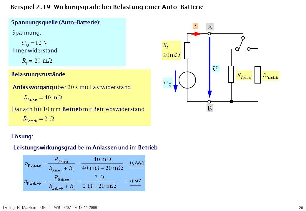 Dr.-Ing. R. Marklein - GET I - WS 06/07 - V 17.11.2006 20 Beispiel 2.19: Wirkungsgrade bei Belastung einer Auto-Batterie Spannung: Innenwiderstand Anl