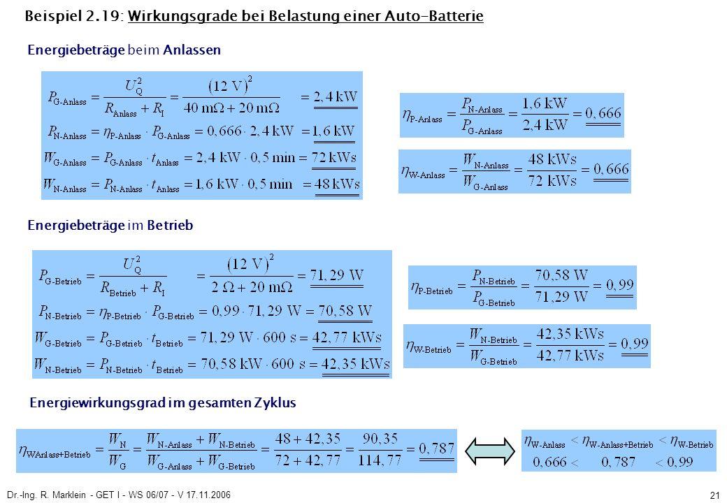 Dr.-Ing. R. Marklein - GET I - WS 06/07 - V 17.11.2006 21 Beispiel 2.19: Wirkungsgrade bei Belastung einer Auto-Batterie Energiebeträge im Betrieb Ene