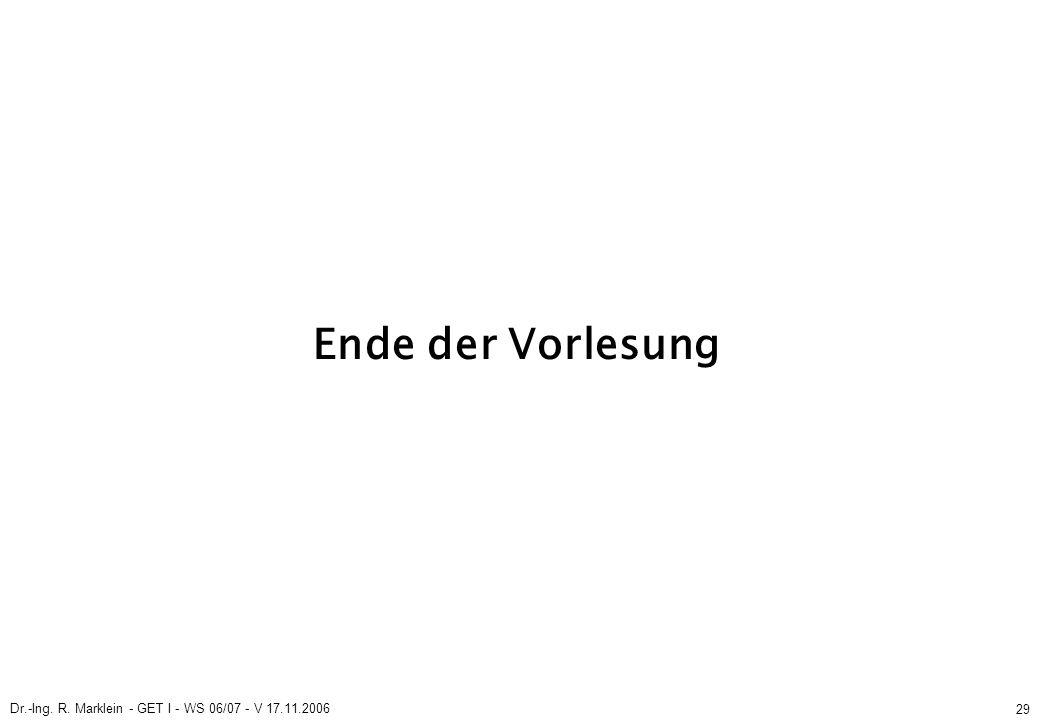 Dr.-Ing. R. Marklein - GET I - WS 06/07 - V 17.11.2006 29 Ende der Vorlesung