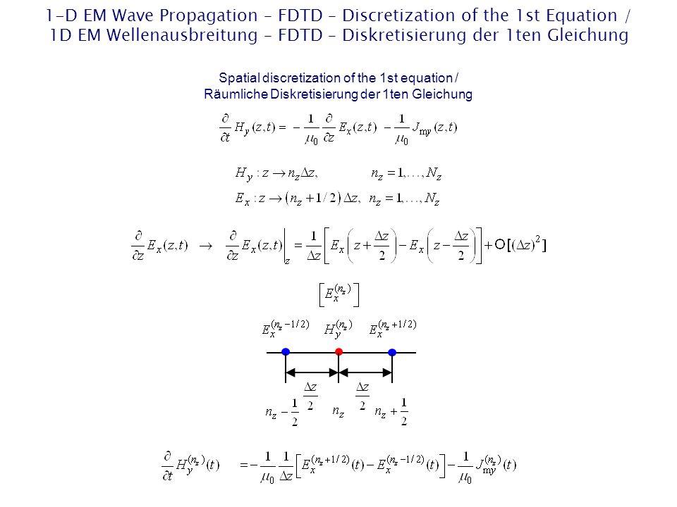 1-D EM Wave Propagation – FDTD – Discretization of the 2nd Equation / 1D EM Wellenausbreitung – FDTD – Diskretisierung der 2ten Gleichung Spatial discretization of the 2nd equation / Räumliche Diskretisierung der 2ten Gleichung