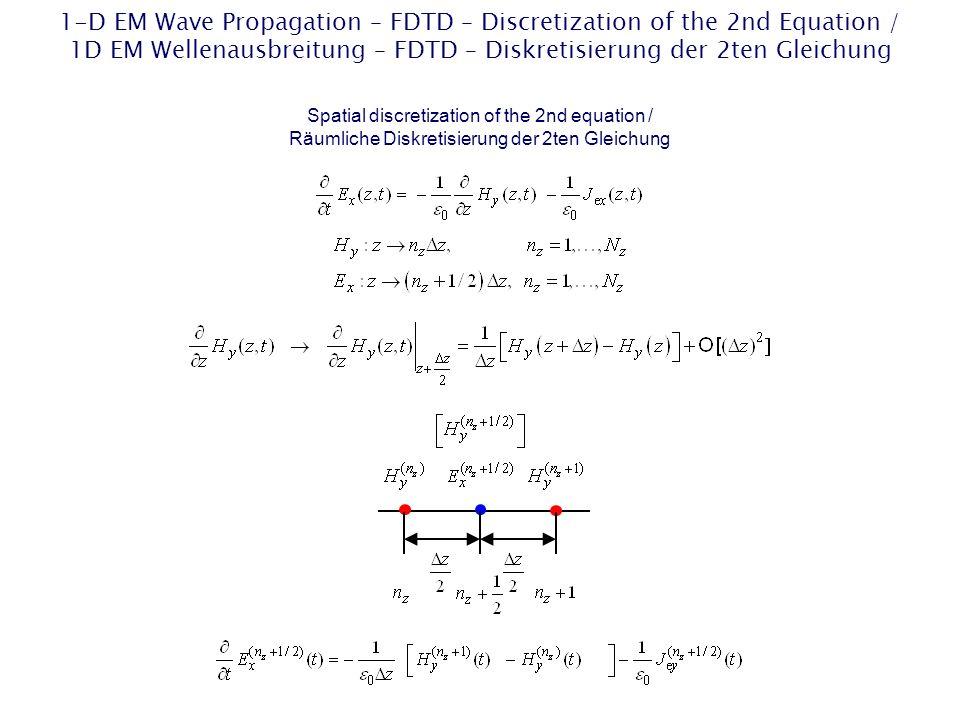 FDTD Solution of the First Two 1-D Scalar Maxwells Equations / FDTD-Lösung der ersten beiden 1D skalaren Maxwell-Gleichungen Maxwells equations / Maxwellsche Gleichungen Causality / Kausalität Initial condition / Anfangsbedingung Boundary condition for a perfectly electrically conducting (PEC) material / Randbedingung für ein ideal elektrisch leitendes Material Hyperbolic initial- boundary-value problem / Hyperbolisches Anfangs-Randwert- Problem
