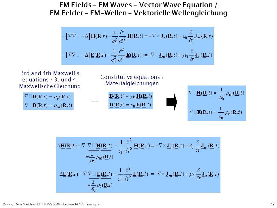 Dr.-Ing. René Marklein - EFT I - WS 06/07 - Lecture 14 / Vorlesung 1419 EM Fields – EM Waves – Vector Wave Equation / EM Felder – EM-Wellen – Vektorie