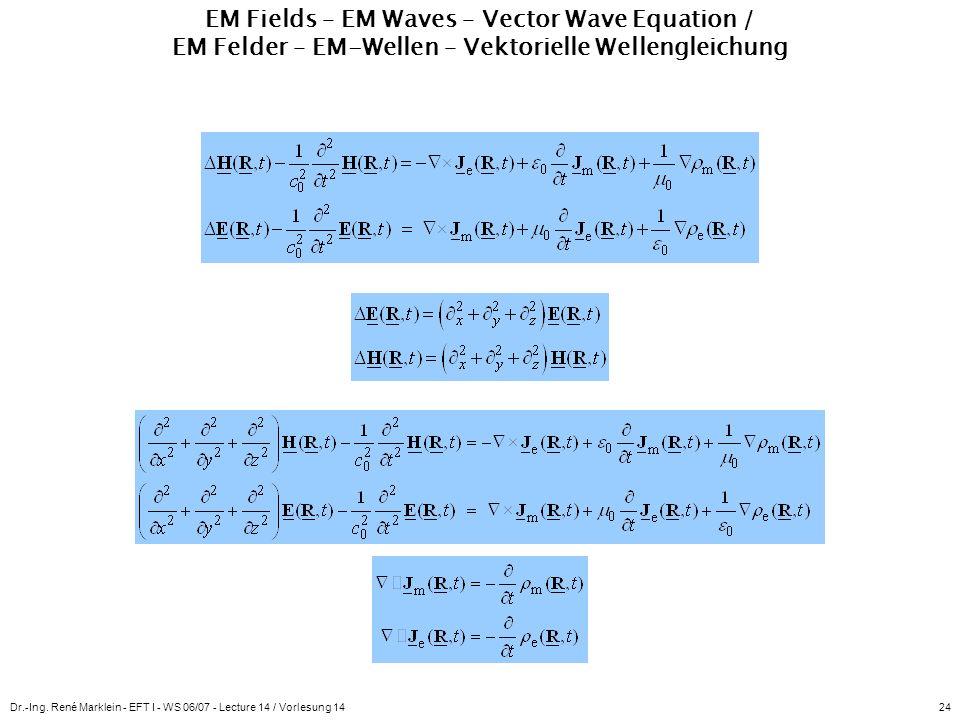 Dr.-Ing. René Marklein - EFT I - WS 06/07 - Lecture 14 / Vorlesung 1424 EM Fields – EM Waves – Vector Wave Equation / EM Felder – EM-Wellen – Vektorie