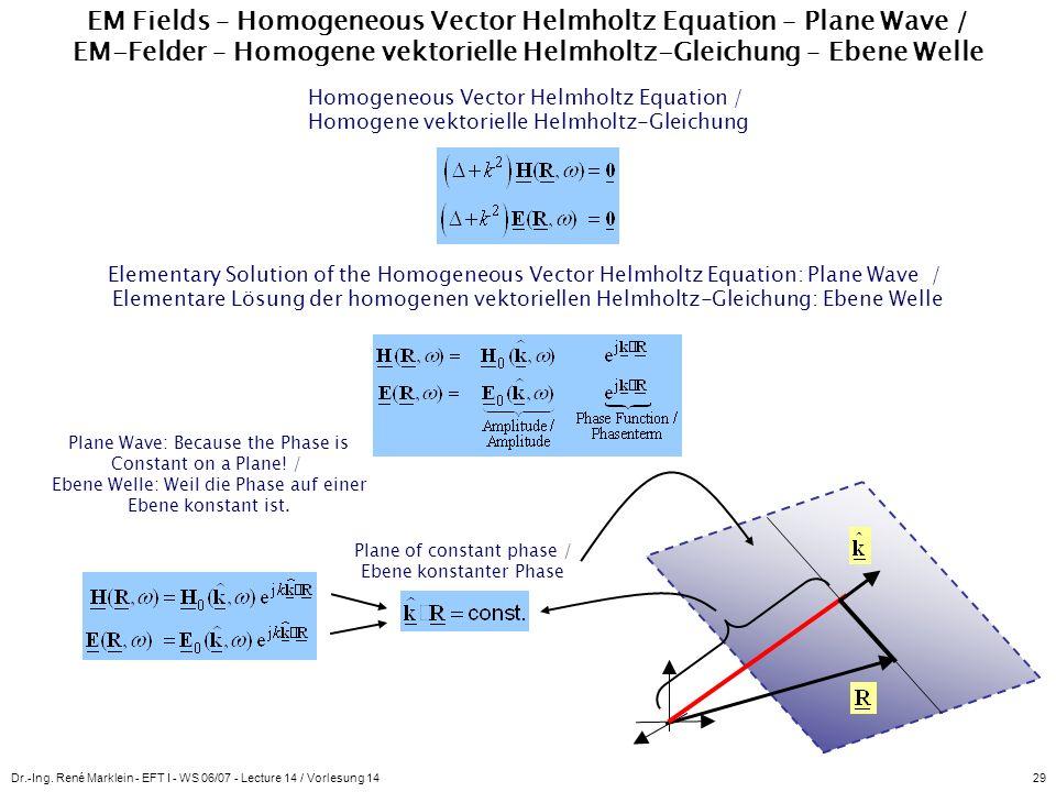 Dr.-Ing. René Marklein - EFT I - WS 06/07 - Lecture 14 / Vorlesung 1429 EM Fields – Homogeneous Vector Helmholtz Equation – Plane Wave / EM-Felder – H