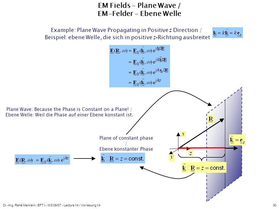Dr.-Ing. René Marklein - EFT I - WS 06/07 - Lecture 14 / Vorlesung 1430 EM Fields – Plane Wave / EM-Felder – Ebene Welle Example: Plane Wave Propagati