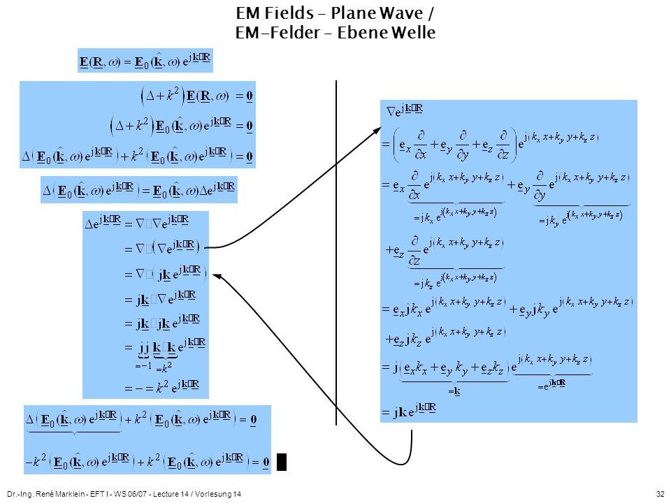Dr.-Ing. René Marklein - EFT I - WS 06/07 - Lecture 14 / Vorlesung 1432 EM Fields – Plane Wave / EM-Felder – Ebene Welle
