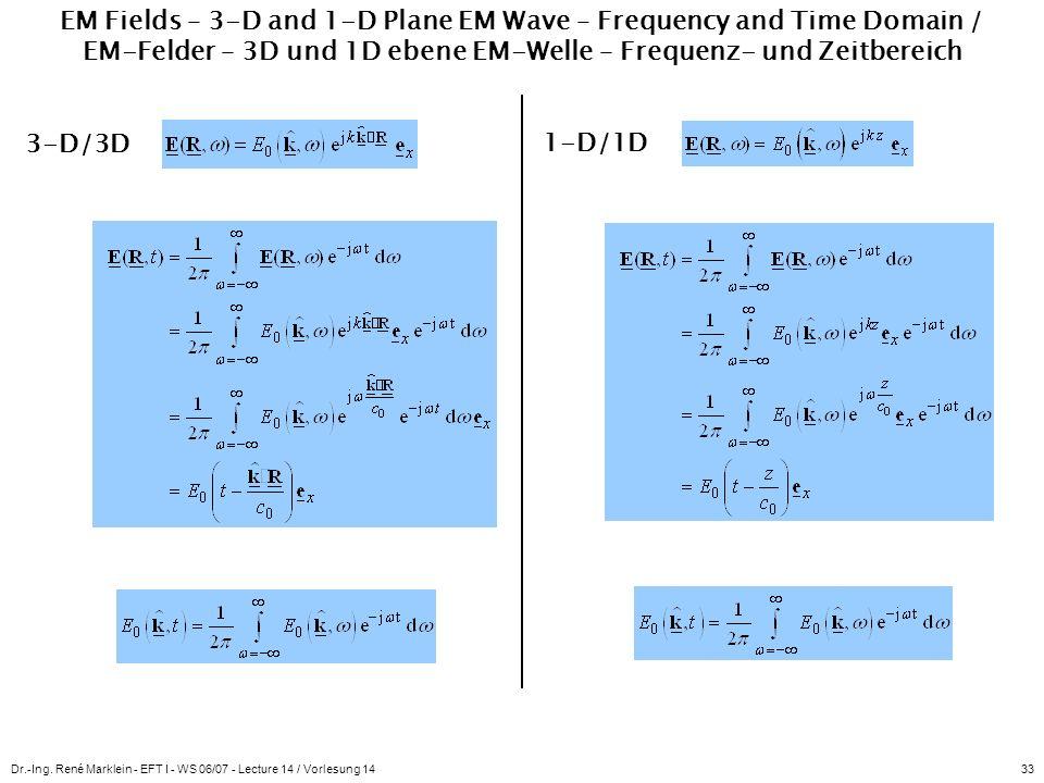 Dr.-Ing. René Marklein - EFT I - WS 06/07 - Lecture 14 / Vorlesung 1433 EM Fields – 3-D and 1-D Plane EM Wave – Frequency and Time Domain / EM-Felder