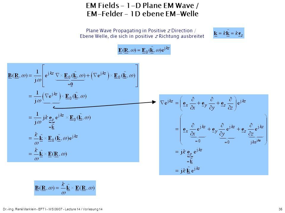 Dr.-Ing. René Marklein - EFT I - WS 06/07 - Lecture 14 / Vorlesung 1435 EM Fields – 1-D Plane EM Wave / EM-Felder – 1D ebene EM-Welle Plane Wave Propa