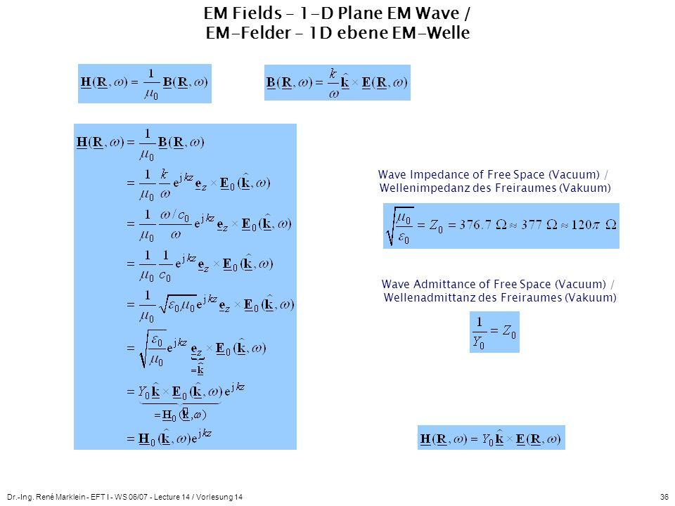 Dr.-Ing. René Marklein - EFT I - WS 06/07 - Lecture 14 / Vorlesung 1436 EM Fields – 1-D Plane EM Wave / EM-Felder – 1D ebene EM-Welle Wave Impedance o