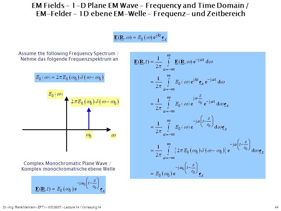 Dr.-Ing. René Marklein - EFT I - WS 06/07 - Lecture 14 / Vorlesung 1444 EM Fields – 1-D Plane EM Wave – Frequency and Time Domain / EM-Felder – 1D ebe