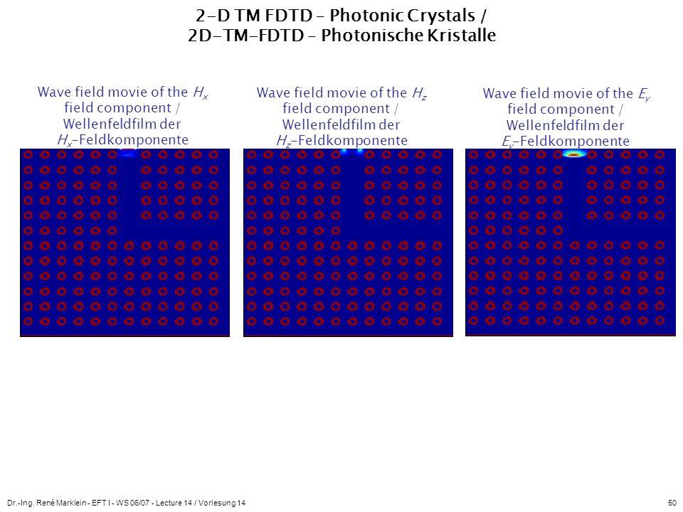 Dr.-Ing. René Marklein - EFT I - WS 06/07 - Lecture 14 / Vorlesung 1450 2-D TM FDTD – Photonic Crystals / 2D-TM-FDTD – Photonische Kristalle Wave fiel