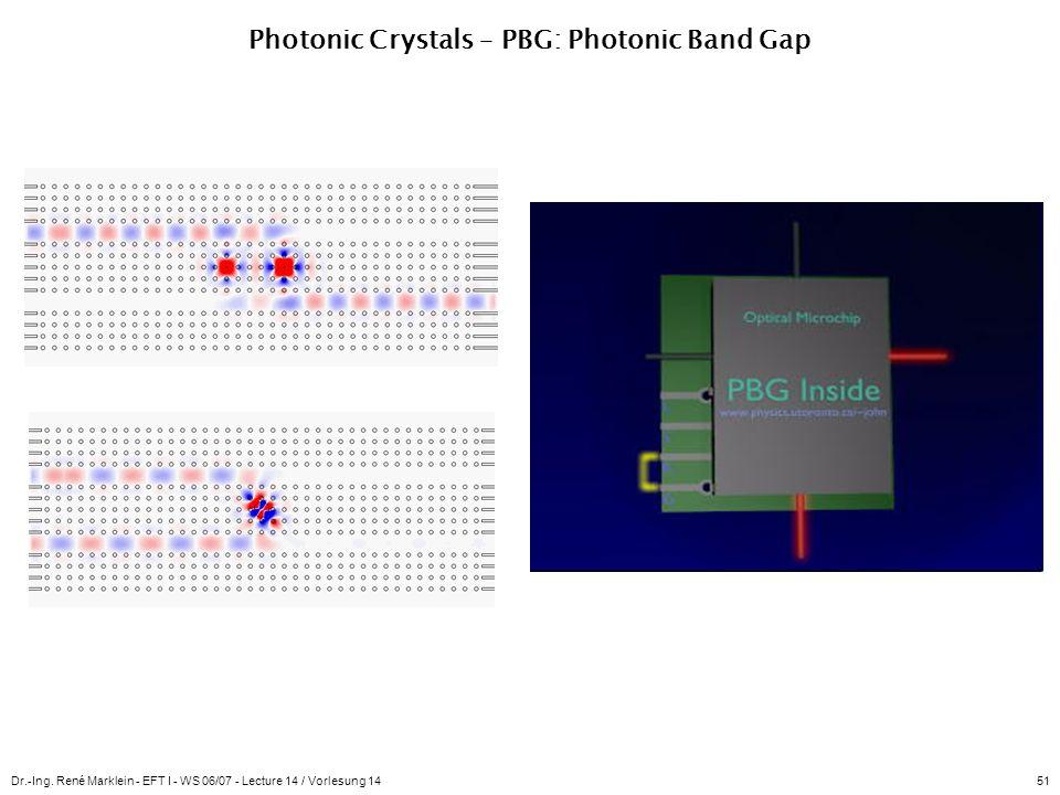 Dr.-Ing. René Marklein - EFT I - WS 06/07 - Lecture 14 / Vorlesung 1451 Photonic Crystals – PBG: Photonic Band Gap