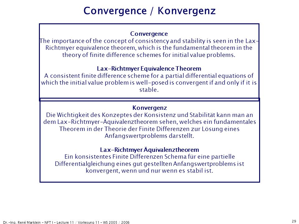 Dr.-Ing. René Marklein - NFT I - Lecture 11 / Vorlesung 11 - WS 2005 / 2006 29 Convergence / Konvergenz Convergence The importance of the concept of c