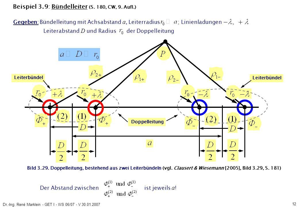 Dr.-Ing. René Marklein - GET I - WS 06/07 - V 30.01.2007 12 Beispiel 3.9: Bündelleiter (S.