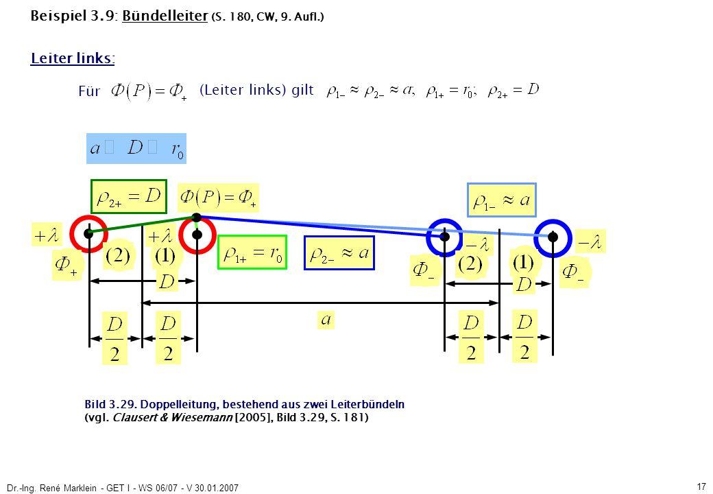 Dr.-Ing. René Marklein - GET I - WS 06/07 - V 30.01.2007 17 Beispiel 3.9: Bündelleiter (S.