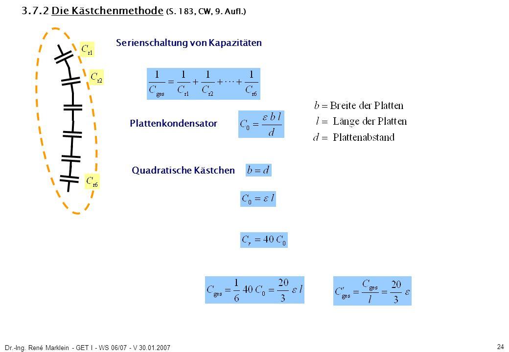 Dr.-Ing. René Marklein - GET I - WS 06/07 - V 30.01.2007 24 3.7.2 Die Kästchenmethode (S.
