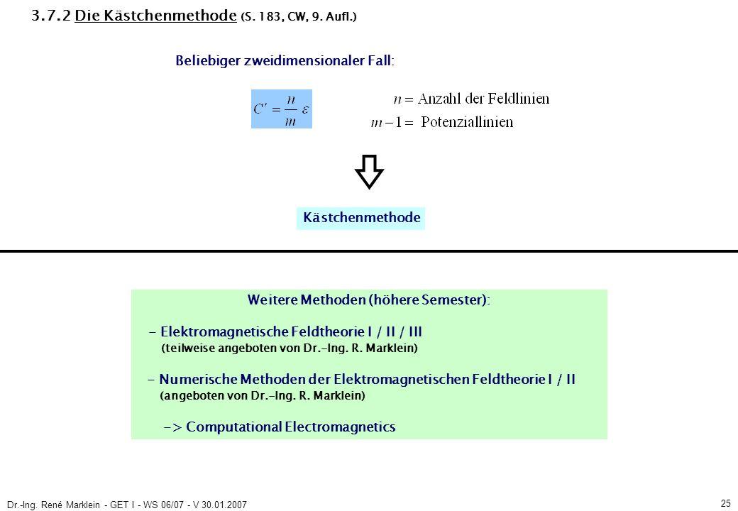 Dr.-Ing. René Marklein - GET I - WS 06/07 - V 30.01.2007 25 3.7.2 Die Kästchenmethode (S.